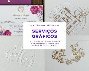 Faça seus serviços gráficos conosco: relevo seco, relevo metálico, hot stamping, serigrafia, impressão digital, corte a laser, acrílico.